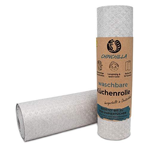 Chinchilla® Waschbare Küchenrolle | 12 nachhaltige Allzwecktücher | made in Germany | Nachhaltige Produkte & Zero Waste | Alternative Küchenrolle |...