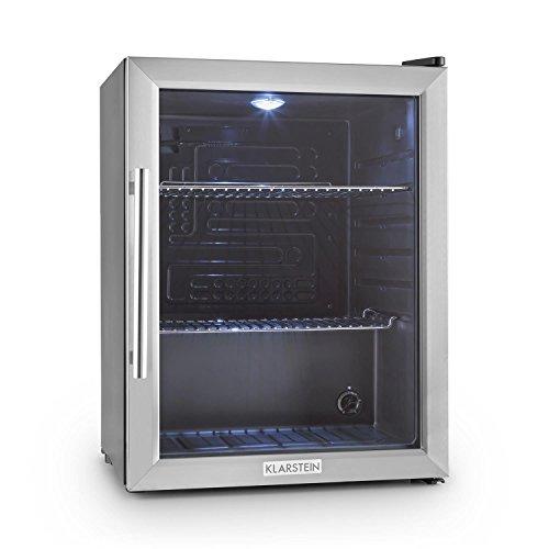 Klarstein Beersafe XL - Minibar, Mini-Kühlschrank, Getränkekühlschrank, leise, 42 dB, Edelstahl, Glastür, 5-stufiger Temperaturregler, 2 Einschübe, 60...