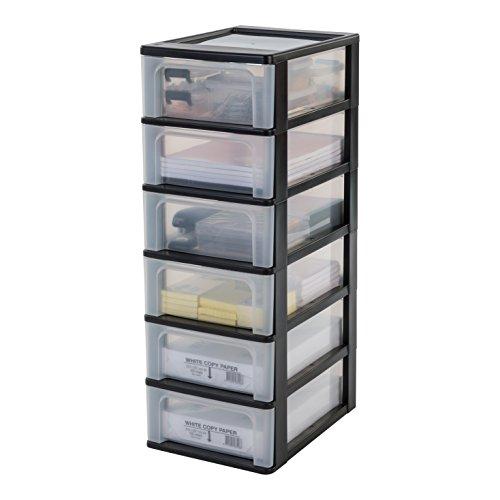 Iris Ohyama Schubladenschrank, Schubladencontainer, 6 Schubladen mit 7 L, Format A4, durchsichtige Schubladen, Büro, Wohnzimmer - Organizer Chest OCH-2006 -...