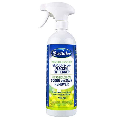 Bactador Geruchsentferner und Fleckenentferner Spray 750ml - Mikrobiologischer Geruchsneutralisierer und Enzymreiniger - 100% natürlich - Porentiefe Reinigung...