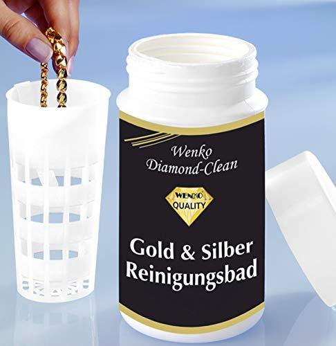 WENKO Diamond Clean Gold- & Silber Reinigungsbad - Schmuckreiniger, Chemische Zusammensetzung, 7 x 14 x 7 cm, Mehrfarbig
