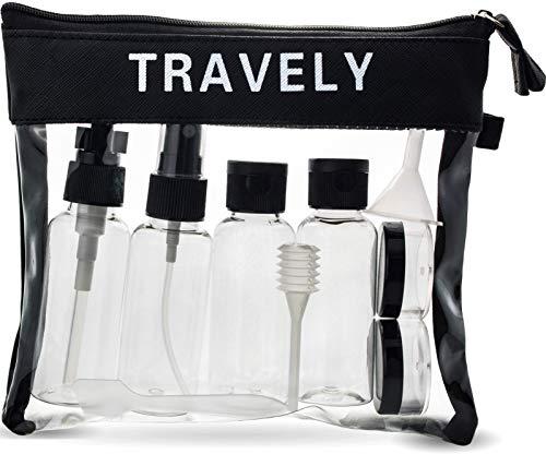 Travely® Premium Kulturbeutel - 1L große Kosmetiktasche mit Reiseflaschen Set - ideal als Handgepäck im Flugzeug - Transparent
