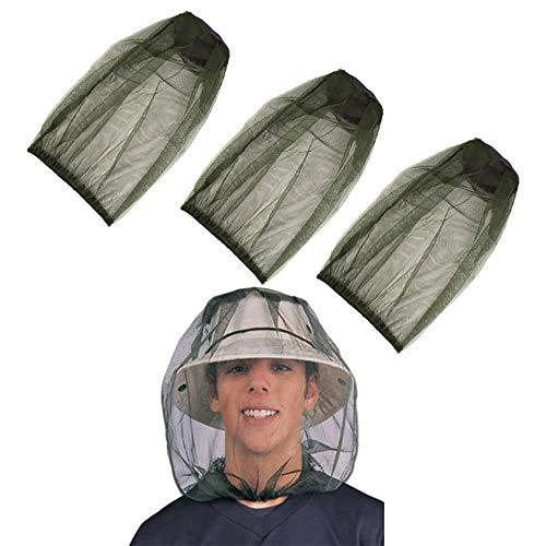 cholinchin 3 Pakung Moskitonetz Hut, Atmungsaktiv Gesicht Mesh Kopf Abdeckung Moskito Kopfnetz, Insektenschutz Hut Moskitonetz Kopf Mückenschutz für...