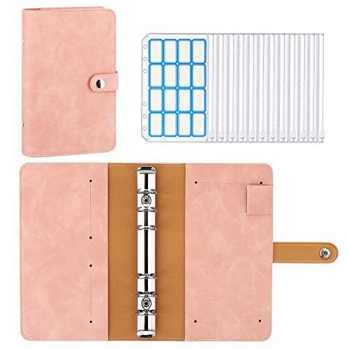 MoKo 6 Löcher Binder Notizbuch, A6 PU Leder Loseblatt Notizbuch Binder Notebook mit 12 Stück Binder Taschen Transparenten Plastik Binderumschlägen...