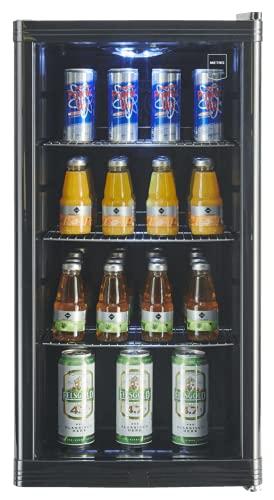METRO Professional Getränkekühlschrank GPC1088 (88 Liter), kleiner Kühlschrank mit Glastüre, wechselbarer Türanschlag, für Gastronomie, Terrassen,...