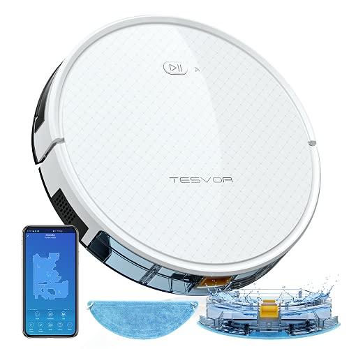 Tesvor X500 pro Saug-Wischroboter 2 in 1 Roboterstaubsauger 2000pa Starksaugleistung mit 350ml elektronischer Wassertank Reinigungsanzeige in Echtzeit Weiß