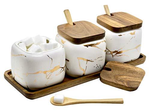 LaBrize Keramik Gewürzbehälter 3er Set Zucker- und Salzdosen-Set - In edler Marmor Optik - Eyecatcher Gewürzdose mit Echtholzdeckel und Bambus...