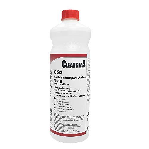 CleanglaS CG3 Kalkentferner Dusche Made in Germany | Extra starker Entkalker, Toilettenreiniger und Urinsteinentferner | Phosphorsäure-Basis | 1L Konzentrat je...