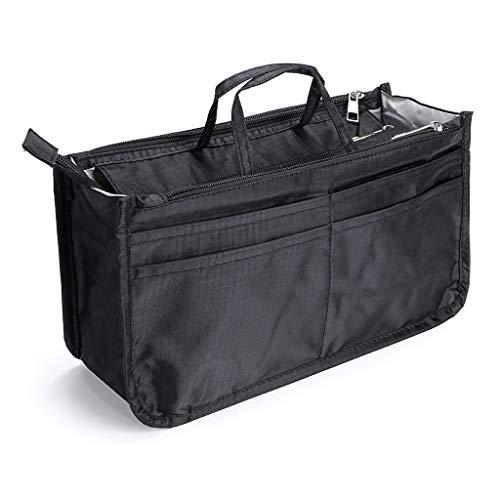 IGNPION Bedruckter Einsatz Handtasche Geldbörse Organizer 13 Taschen erweiterbar Liner Bag Pouch Reißverschluss Tote Organizer Wickeltasche Einsatz mit Griff...