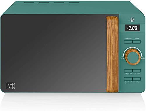 Swan Nordic Digitale Mikrowelle 20 l, 6 Betriebsstufen, 800 W Leistung, 30 Minuten Timer, einfache Reinigung, Auftau-Modus, modernes Design, Holz-Effekt, grün...