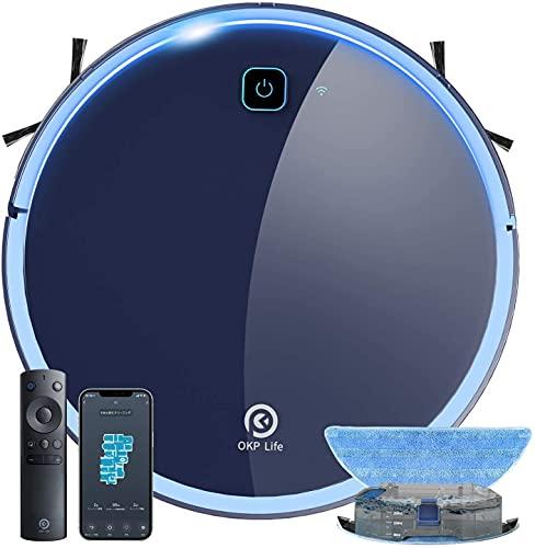 OKP K7 Saugroboter und Wischroboter, Saugleistung 2200Pa, 120min Akkulaufzeit, 300ml Wassertank, 59dB Lautstärke, App-/Sprachsteuerung, Selbstaufladender...