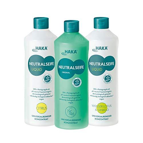 HAKA Neutralseife Flüssig 3er Set I 3x1 Liter Neutralreiniger I Universalreiniger für Haushalt und Auto I PH-neutrales Reinigungsmittel I Biologisch abbaubar