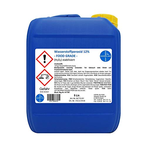 Wasserstoffperoxid 12% FOOD GRADE I 5 Ltr. I stabilisiert I Kanister I Pharmazentralnummer-16569707 I Herrlan Qualität I Made in Germany I HERRLAN ANTWORTET...