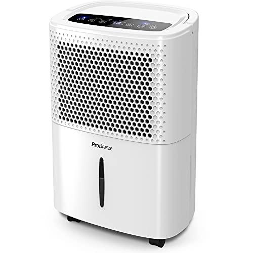 Pro Breeze Luftentfeuchter 12L in 24h Entfeuchtungsleistung - Raumgröße ca. 120m³ (~20 m²) - mit 3 Betriebsarten, Digitalanzeige, Ablaufschlauch, Timer -...