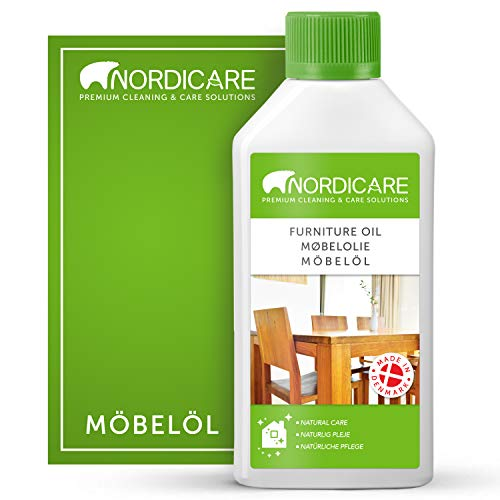 Nordicare Holzöl zur Pflege. Möbelöl farblos für Eiche, Buche, Nussbaum, Lärche. Holzlasur auf Basis von Leinöl. Leinölfirnis (500ml)