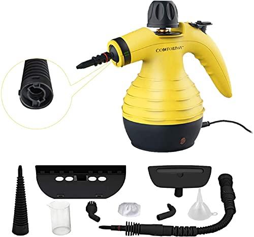 Multifunktionaler Comforday- Dampfreiniger als Handgerät mit 9 Zubehörteilen für Fleckenentfernung, Bedampfung, Teppiche, Vorhänge, Autositze,...