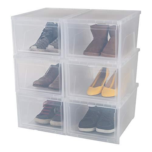 Iris Ohyama, 6er-Set Schuhboxen / Schuhschrank, transparent, stapelbar, bis 47-48, für Kleiderschrank oder Flur - New Drop Front Box - EUNS, 14 L, 28 x 37 x 20...