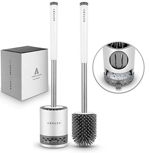 Abrush hochwertige WC Bürste aus Silikon - Premium Klobürste für eine saubere und hygienische Toilette - Toilettenbürstenhalter in weiß/grau mit...