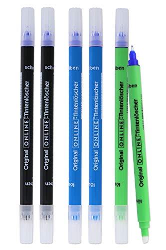 Vorteils-Pack Tintenlöscher von Online | 6x Tintenkiller zum Löschen und Überschreiben | in verschiedenen Farben, je 2x blau, grün, schwarz | Entfernung und...