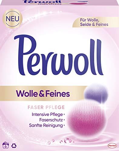 Perwoll Wolle und Feines, Faser Pflege Pulver, 6 (1 x 6) Waschladungen, für Wolle, Seide und Feines