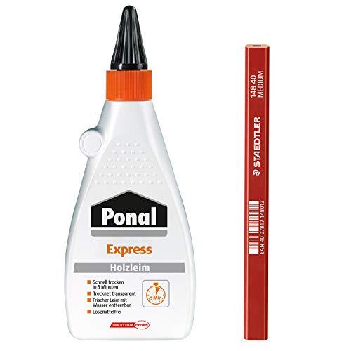 Ponal Holzleim Express in 5 Minuten trocken, idealer Holzleim wenn schnell weiterverarbeitet oder belastet wird, Spar-Set mit 550g Holzleim und einem...