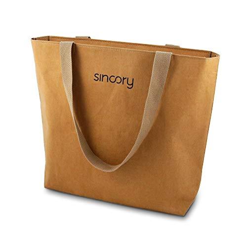 sincory one - Damen-Handtasche - nachhaltig und vegan - Einkaufstasche, Schultertasche, Shopper - ideales Frauen-Accessoire aus Kraft-Papier für Sommer 2021