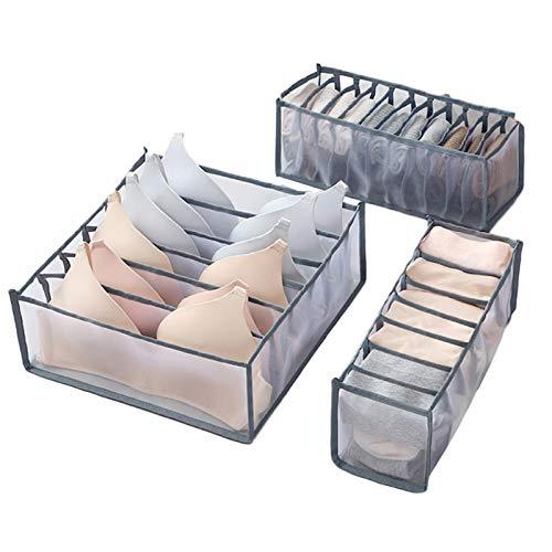 Rich-home Schubladen Organizer, 3er-Set Unterwäsche, Socken, BH Schubladen Aufbewahrung organisieren, Schrank Aufbewahrungsbox mit Trennwänden, Netzmaterial,...