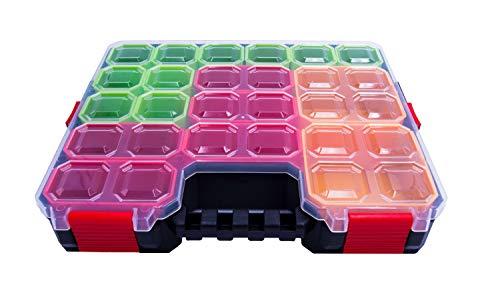 Sortimentskasten KUBI300 Organizer | 4-fach Verschluss, 17 bunte Einsätz Sortierbox Sortierkasten 313x273x62 mm - Kleinteilemagazin Angelbox Schraubenbox...
