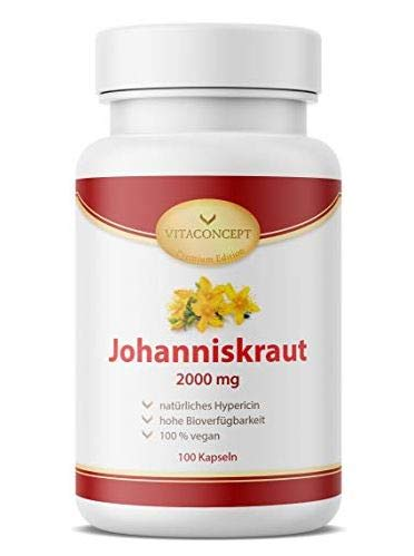 AKTIONSPREIS! Johanniskraut I Der Vergleichssieger* I 2000 mg pro Kapsel I inklusive natürlichem Hypericin I laborgeprüft I 100 vegane Kapseln hochdosiert I...