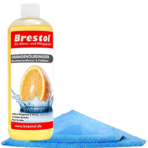 Brestol Orangenölreiniger Set1 (1000 ml + Zubehör) - Universalreiniger Fett Öl Kaugummi Baumharz-Entferner Geruchsneutralisierter
