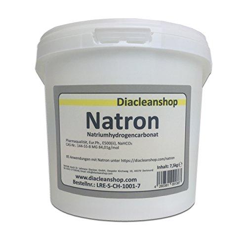 Natron 7,5 kg in pharmazeutischer Qualität – Natriumhydrogencarbonat (E500ii) - Backsoda - Bakingsoda - Basenbad - Hausmittel zum Backen, Reinigen, Baden,...
