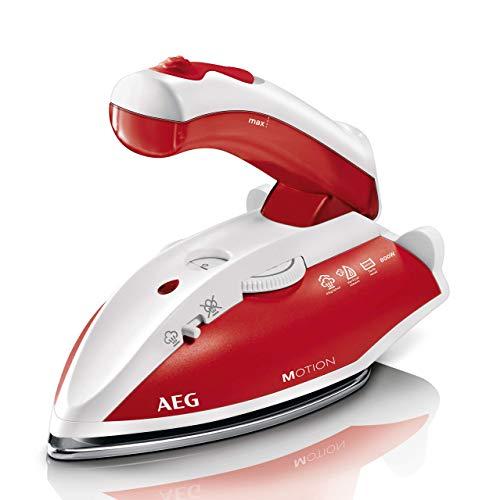 AEG DBT 800 Reise-Dampfbügeleisen / Variabler, kontinuierlicher Dampf / ergonomischer Klappgriff / Reisebeutel / Edelstahl Bügelsohle / Dampfstoß 45g/Stoß /...