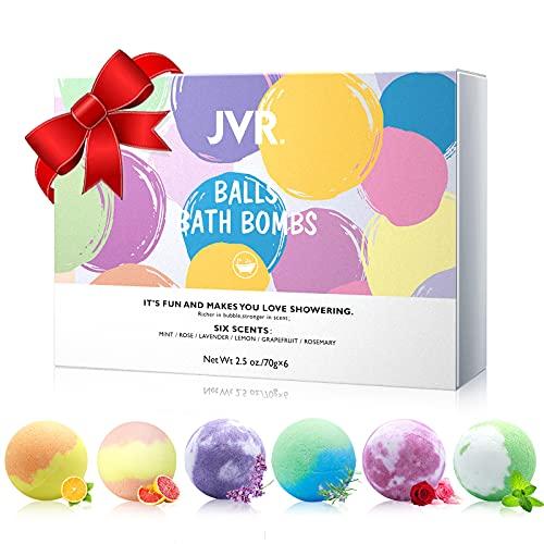 Badebomben Geschenkset, 6er JVR Handgefertigte Badekugeln, für Hautpflege & Entspannung, Schaumbad Bombe mit Natürliche ätherische Ölen, Perfekte für...