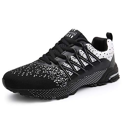 SOLLOMENSI Laufschuhe Herren Sportschuhe Straßenlaufschuhe Sneaker Joggingschuhe Turnschuhe Walkingschuhe Schuhe 44 EU A Schwarz
