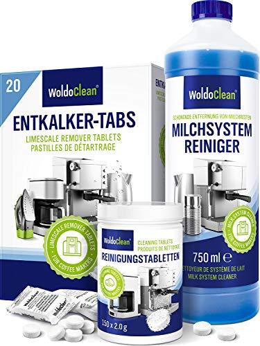 Pflegeset Kaffeevollautomat zur Reinigung mit Milchsystem - 20x Entkalkungstabletten 150x Reinigungstabletten 750ml Milchsystemreiniger