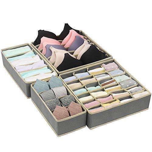 Qisiewell Aufbewahrungsbox für Unterwäsche und Socken Organizer Grau Schrank Organizerboxen 4er Faltbox Schublade Organizer für Socken und Krawatten Dessous...