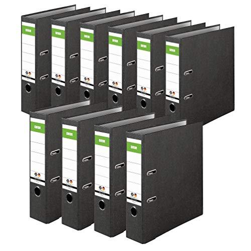 Original DINOR Ordner-Wolkenmarmor-Recycling - Made in Germany. 10er Pack 8 cm breit DIN A4 schwarz Aktenordner Briefordner Büroordner Pappordner Schlitzordner...