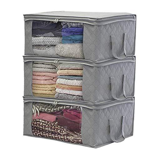 JSENGE 3pack Aufbewahrungstasche Kleidung faltbar, unterbett aufbewahrungsbeutel, tuevob Stoff-aufbewahrungsbox, kleideraufbewahrung mit reißverschluss,...