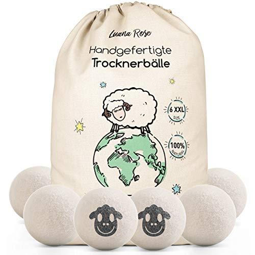 Trocknerbälle für Wäschetrockner - Der Natürliche Weichspüler aus 100% Schafwolle - [6x] XXL Trockner Bälle für Daunenjacken- Wäsche-bälle aus Wolle...