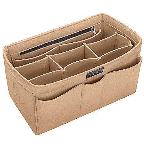 Ropch Handtaschen Organizer Taschenorganizer mit Fächer Geldbeutel-Einsatz Bag in Bag Handtaschenordner Beige - L