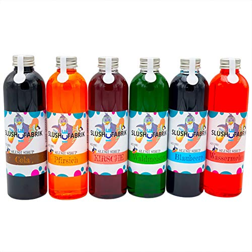 Sirup Partyset 6 x 250ml für Slush, Getränke | Slushy Eis selber machen | Slushmaschine Konzentrat 1:5, Keine Zugabe von Zucker notwendig