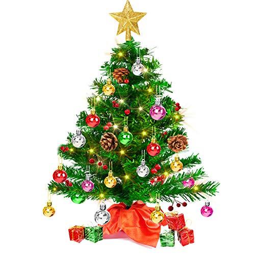 Mini Weihnachtsbaum 50cm, Christbaum künstlich mit batteriebetriebenen gelben LED Lichterketten & andere Baumdeko, einfache Montage, Kleiner Tannenbaum für...