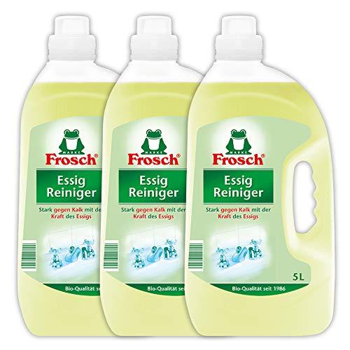 Frosch Essig Reiniger, Allzweckreiniger stark gegen Kalk, Wasserflecken und Seifenreste in Küche, Bad und WC, 3er Pack (3 x 5 l)