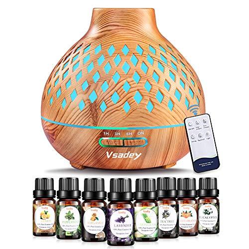 400ml Aroma Diffuser mit 8 * 10ml Ätherische Öle Set, Ultra Leise Luftbefeuchter Duftlampe, BPA-Free Aromatherapie Diffusor mit 7 Farben LED, 2 Nebelstufen...