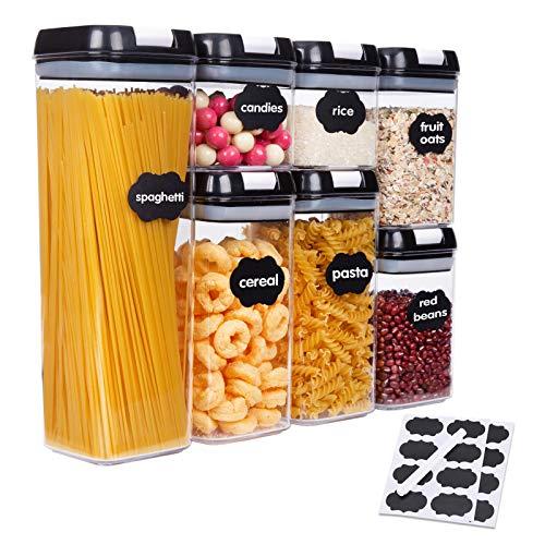 SUCHDECO Frischhaltedosen mit Schwarzen Deckeln, BPA-frei, Ideal für die Organisation und Aufbewahrung in der Küche, Speisekammer für Lebensmittel 7 Teilige...