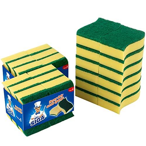 MR.SIGA Putzschwamm Spülschwamm Küchenschwamm Zweiseitig Reinigungsschwamm Fleckenentferner Scheuerschwamm, 24 Stück, Größe: 11 x 7 x 3cm
