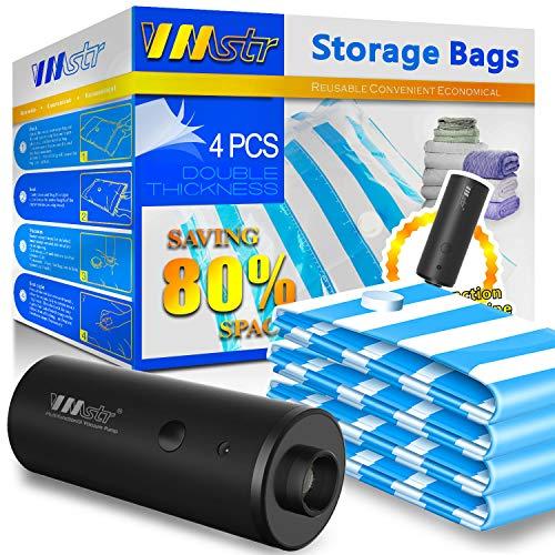 VMstr Vakuumbeutel mit elektrischer Pumpe, Vakuum Aufbewahrungsbeutel 2 x (70 * 50CM) + 2 x (60 * 40CM) für die Reise und den Heimgebrauch,sparen Platz...