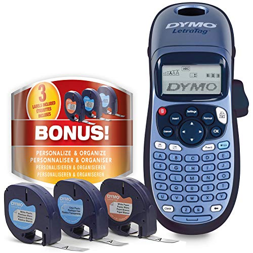 Dymo LetraTag LT-100H Beschriftungsgerät Handgerät | Tragbares Etikettendrucker mit ABC Tastatur | mit Papieretiketten, weißen & transparenten...