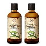 Ätherisches Öl Eukalyptus 200ml - 2x100ml - Eucalyptus Globulus - 100% Naturrein & Reines Ätherische Eukalyptusöl Besten für Sauna - Raumduft - Diffuser - Duftlampe & Luftbefeuchter