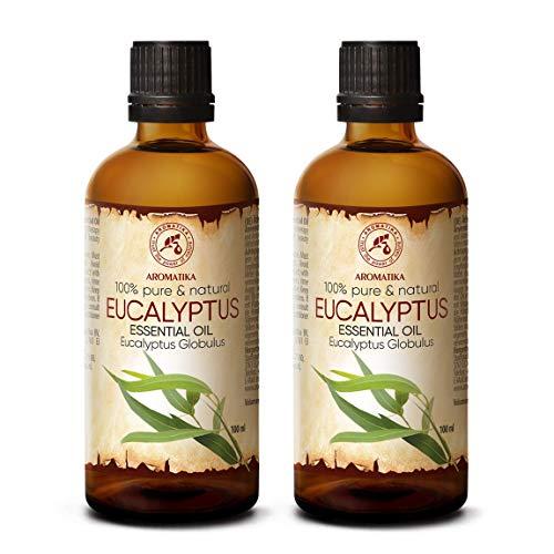 Ätherisches Öl Eukalyptus 200ml - 2x100ml - Eucalyptus Globulus - 100% Naturrein & Reines Ätherische Eukalyptusöl Besten für Sauna - Raumduft - Diffuser -...
